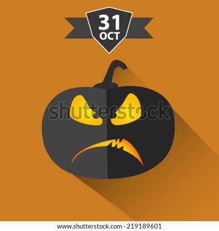 halloween pumpkin card - flat design vector  - stock vector