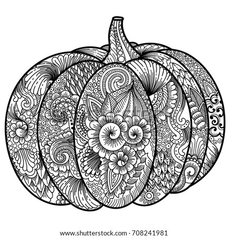 Halloween Pumpkin Coloring Book Adult Antistress Stock Vector ...