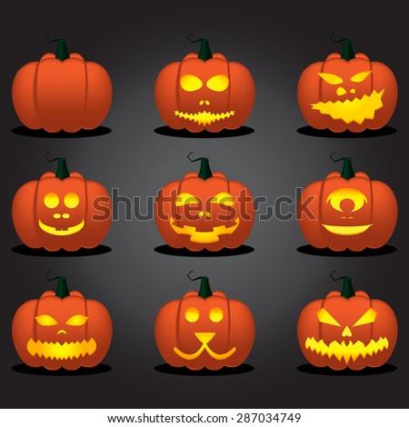 Halloween Pumpkin Face Set. Vector Illustration - stock vector