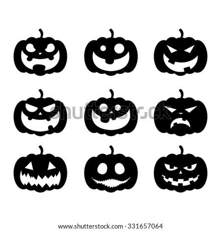 Halloween Pumpkin Faces Vector Illustration Stock Vector 331657064 ...