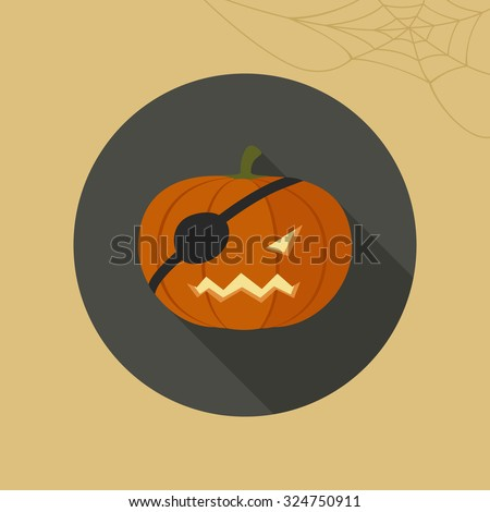 Halloween pumpkin icon in flat style. Vector illustration.