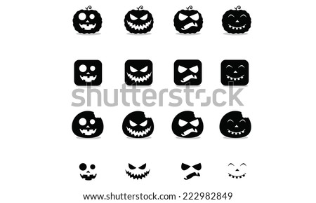 Halloween pumpkin  icon set - stock vector