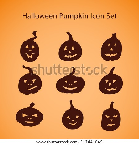 Halloween pumpkin icon set. Silhouette shapes with different facial expressions - stock vector