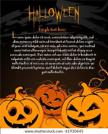 Halloween Pumpkin illustration for banners labels and invite cards - stock vector