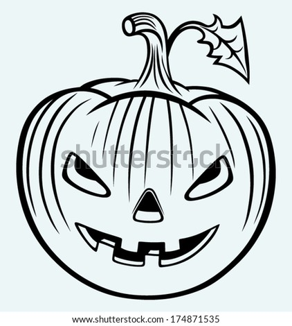 Halloween pumpkin. Image isolated on blue background - stock vector