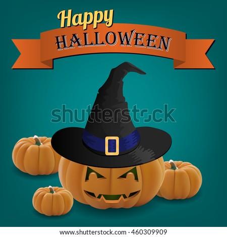 Halloween pumpkin in witch hat . Happy Halloween. vector illustration - stock vector