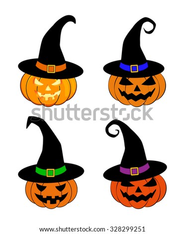 Halloween pumpkin in witches hat vector set illustration, Jack O Lantern isolated on white background. Scary orange picture with eyes - stock vector