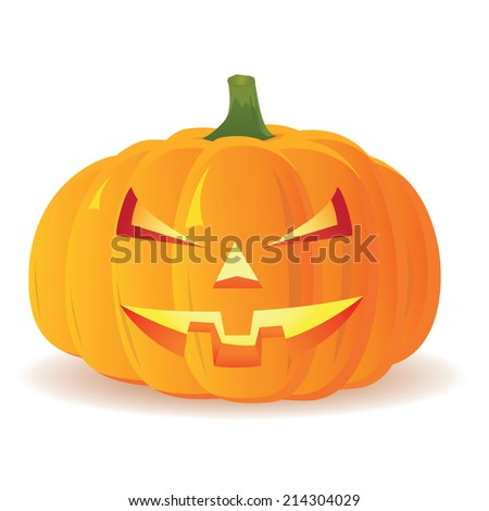 Halloween Pumpkin isolated on white background, vector illustration