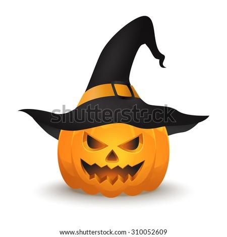 Halloween pumpkin. Jack o lantern vector. Halloween pumpkin in a witch hat. EPS10 vector illustration. - stock vector