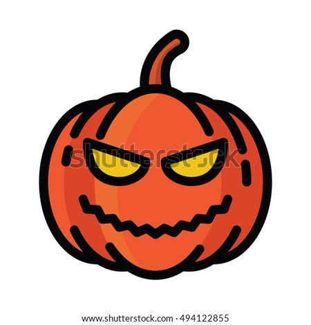 Halloween Pumpkin Linear Color Icon