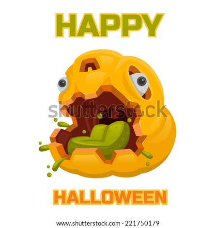 halloween pumpkin monster poison - stock vector