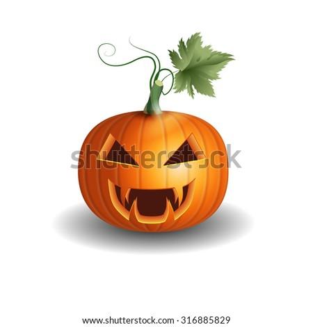 Halloween pumpkin object vector realistic jack o lantern with leaf - stock vector