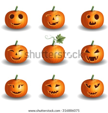 Halloween pumpkin objects jack o lantern realistic vector set background - stock vector