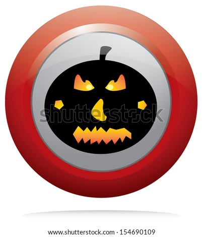 Halloween pumpkin on red round button. Black pumpkin vector on isolated button design.