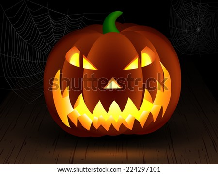Halloween pumpkin on wood table with cobwebs - stock vector