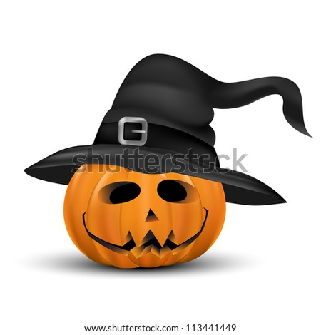 Halloween pumpkin realistic with heat. Isolated on white. - stock vector