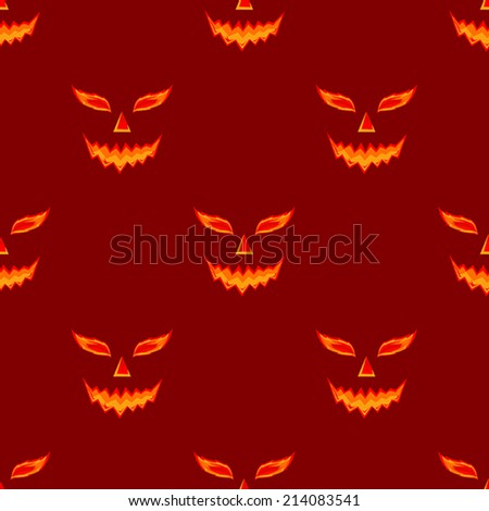 Halloween pumpkin scary face vector pattern on red - stock vector