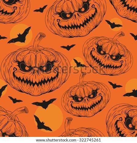halloween pumpkin seamless pattern - stock vector