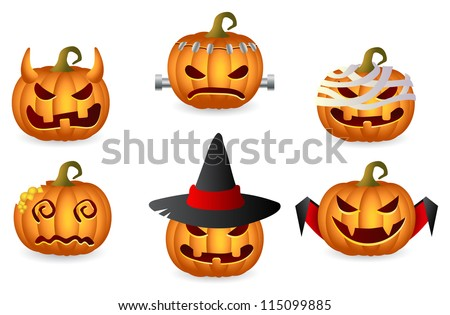 Halloween Pumpkin Set; Horror Persons; Vector Icon Set - stock vector