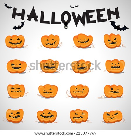 Halloween Pumpkin Set - Isolated On Gray Background - Vector Illustration, Graphic Design Editable For Your Design