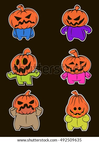 Halloween pumpkin.Set pumpkins puppet. colorful bright on a black background. vector illustration