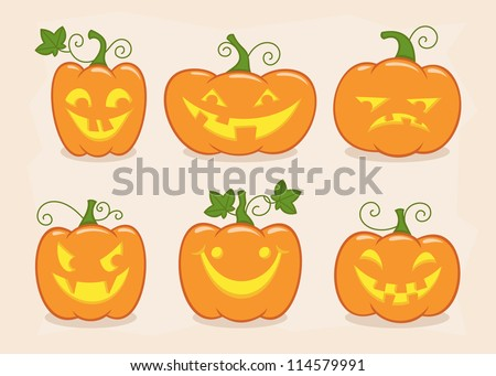 Halloween pumpkin set with different emotions. Vector illustration - stock vector