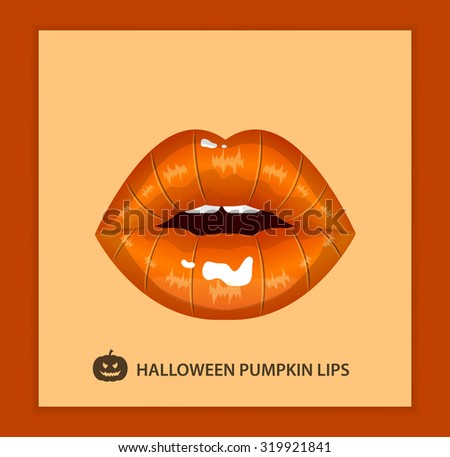 Halloween pumpkin sexy passion lips, shining lipstick, erotic open mouth - stock vector