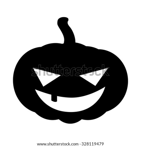 Halloween pumpkin silhouette vector illustration, Jack O Lantern  isolated on white background. Scary orange picture with eyes. - stock vector