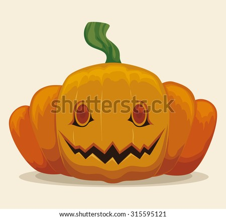 Halloween Pumpkin Smiling Isolated, Vector Illustration