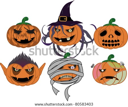 halloween pumpkin (Vampire and Witch and Mummy and Frankenstein and pumpkin and skull) - stock vector