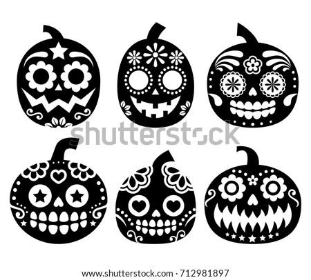 Halloween pumpkin vector desgin mexican sugar stock vector halloween pumpkin vector desgin mexican sugar skull style dia de los muertos decoration pronofoot35fo Images