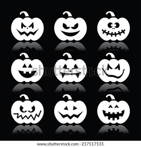 Halloween pumpkin vector icons set on black background - stock vector