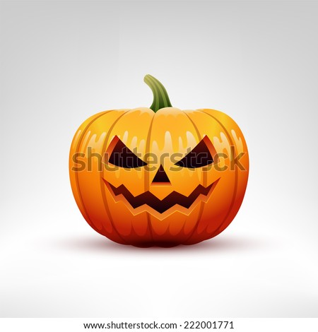 Halloween Pumpkin vector illustration isolated on white background. Pumpkin with carved evil face.