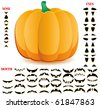 Halloween pumpkin with big set of mouths, eyes and noses for Jack O`Lantern face, part 10, vector illustration - stock vector