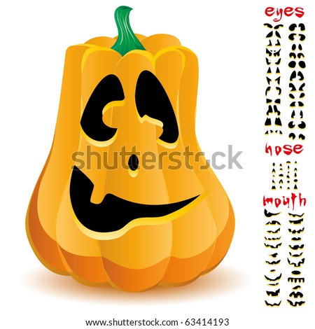 Halloween pumpkin with big set of mouths, eyes and noses for Jack O`Lantern face, part 16, vector illustration - stock vector