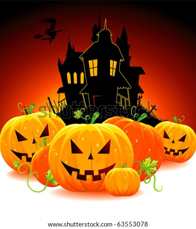 Halloween pumpkin with castle, vector - stock vector