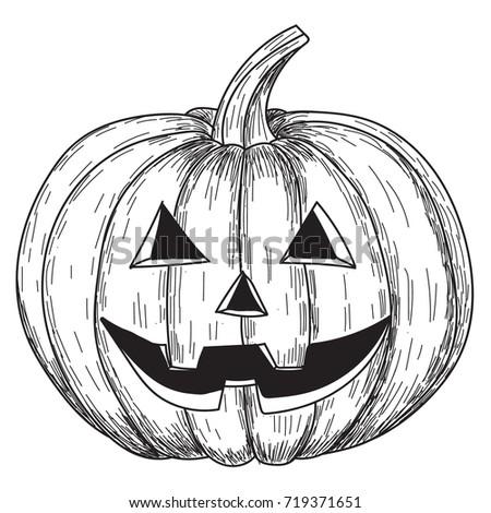 Halloween pumpkin scary face vector black stock vector for Funny pumpkin drawings