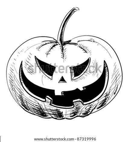 Pumpkin sketch stock photos images pictures shutterstock for Funny pumpkin drawings