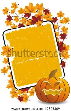 Halloween pumpkin with leafs and frame holiday background illustration