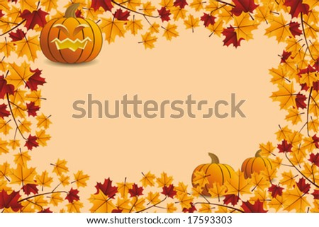 Halloween pumpkin with leafs holiday background illustration