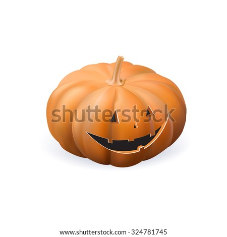 Halloween pumpkin with scary face on a white background vector realistic isolated