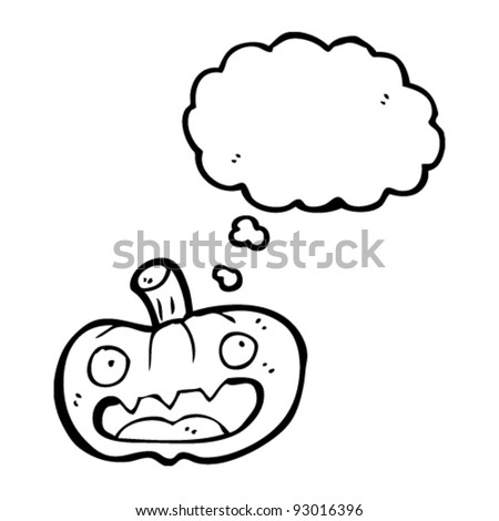 halloween pumpkin with thought bubble cartoon