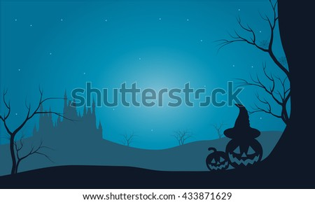 Halloween pumpkins and castle with fog scenery with blue background
