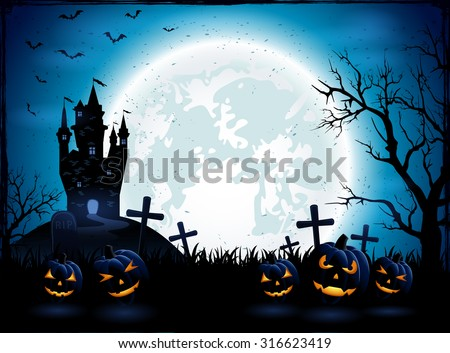 Halloween pumpkins and dark castle on blue Moon background, illustration. - stock vector