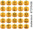 Halloween pumpkins as Jack O`Lantern, vector illustration - stock vector