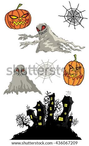 halloween pumpkins cartoon ghost and haunted castle   - stock vector