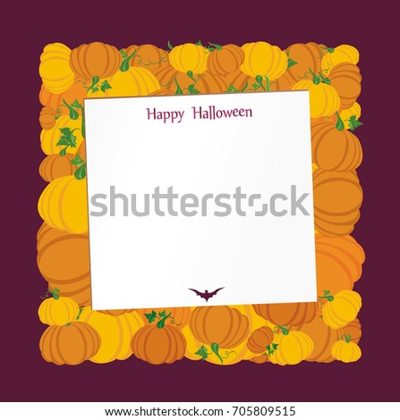 Halloween. Pumpkins in the form of a square. Greeting card or invitation for a holiday. Empty form for text or message. Vector.