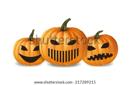 Halloween pumpkins isolated on white background, vector eps10 illustration - stock vector