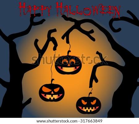 Halloween Pumpkins on blue background - stock vector