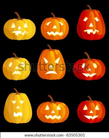 Halloween pumpkins Set of many  various emotions at halloween pumpkins - stock vector